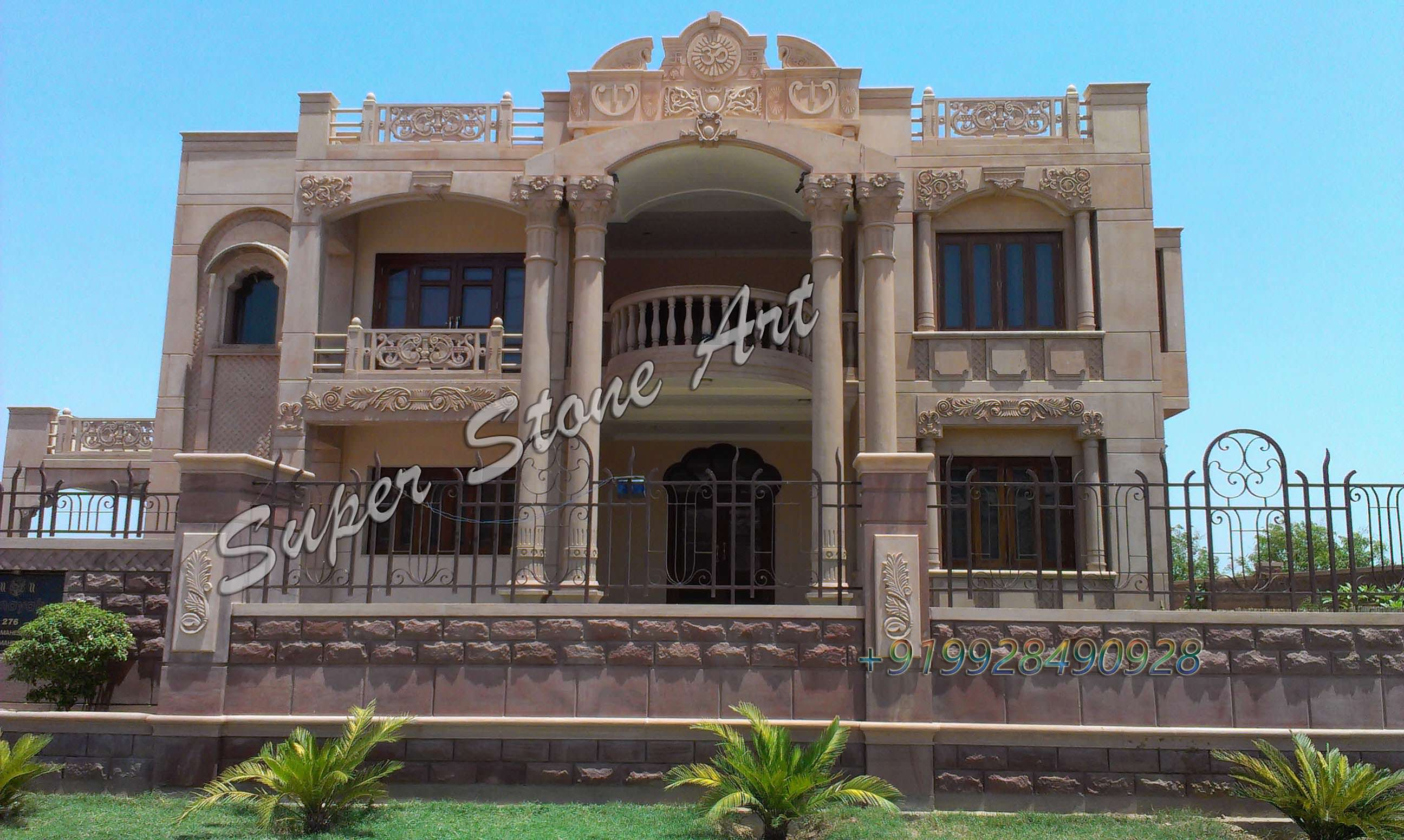 Front elevation designs jodhpur sandstone jodhpur stone for Stone house designs