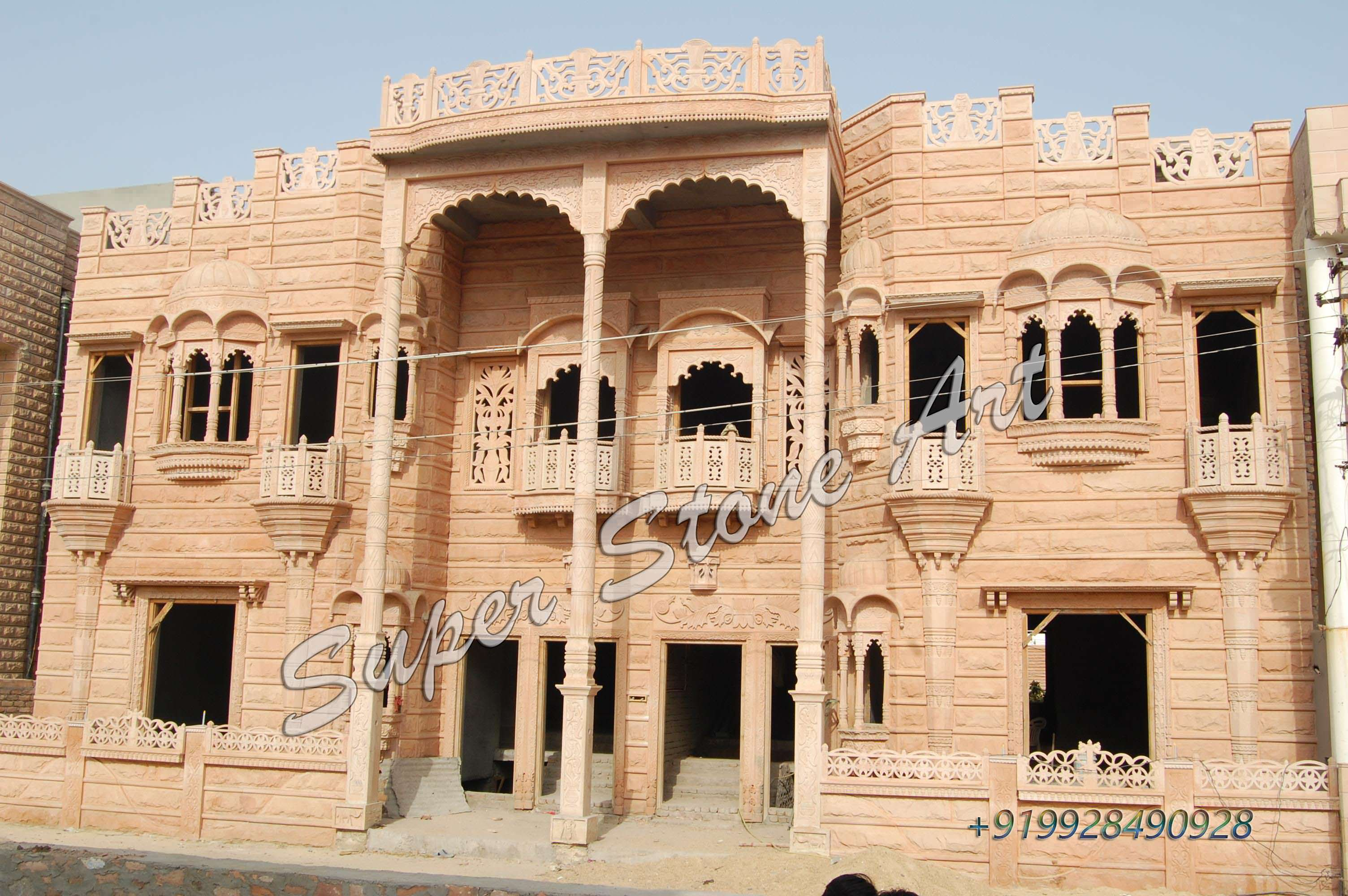 Front Elevation Stone Work : Elevation of house in rajasthan joy studio design