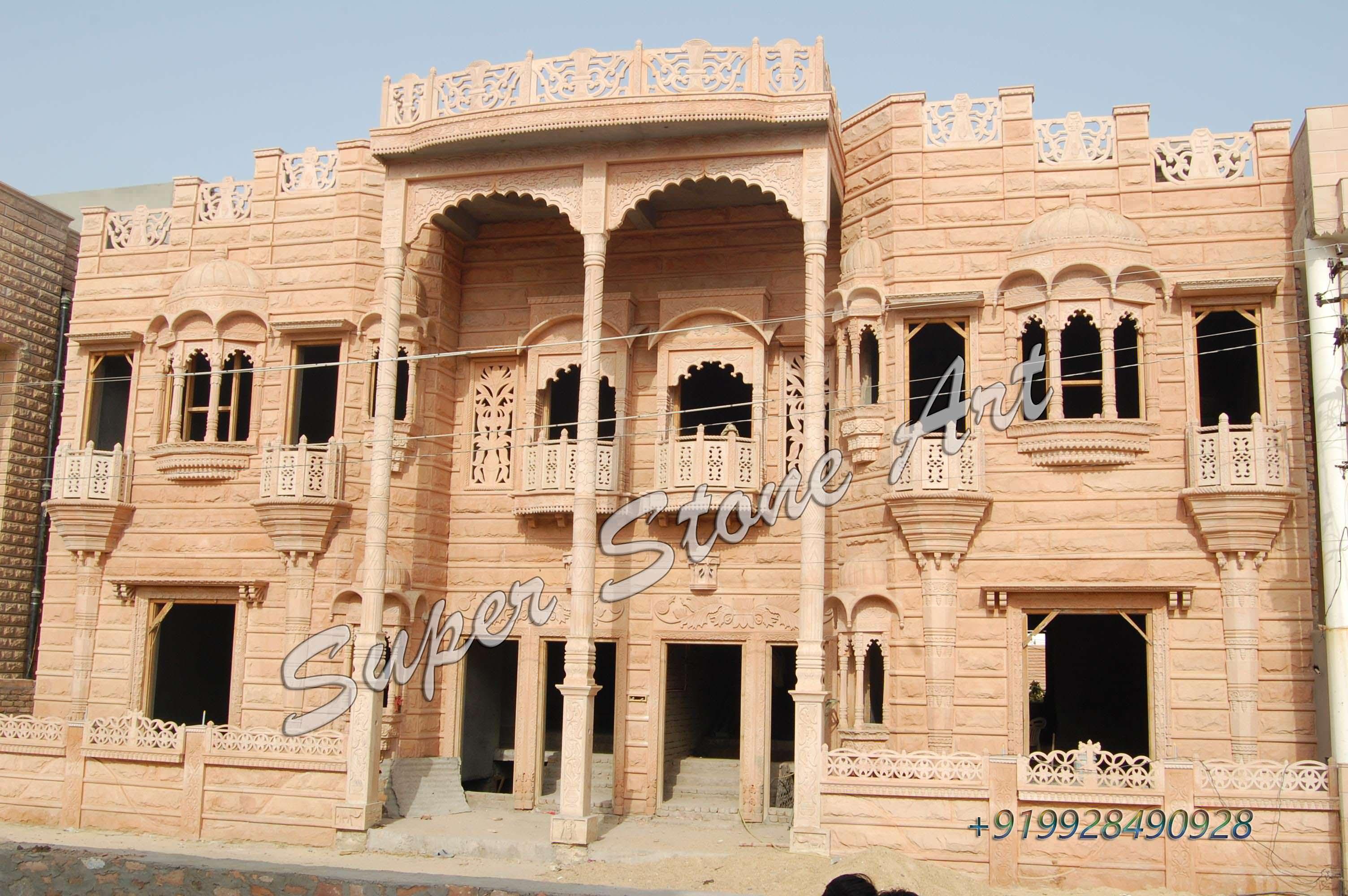 Stone Elevation House : Stone front elevation designs jodhpur