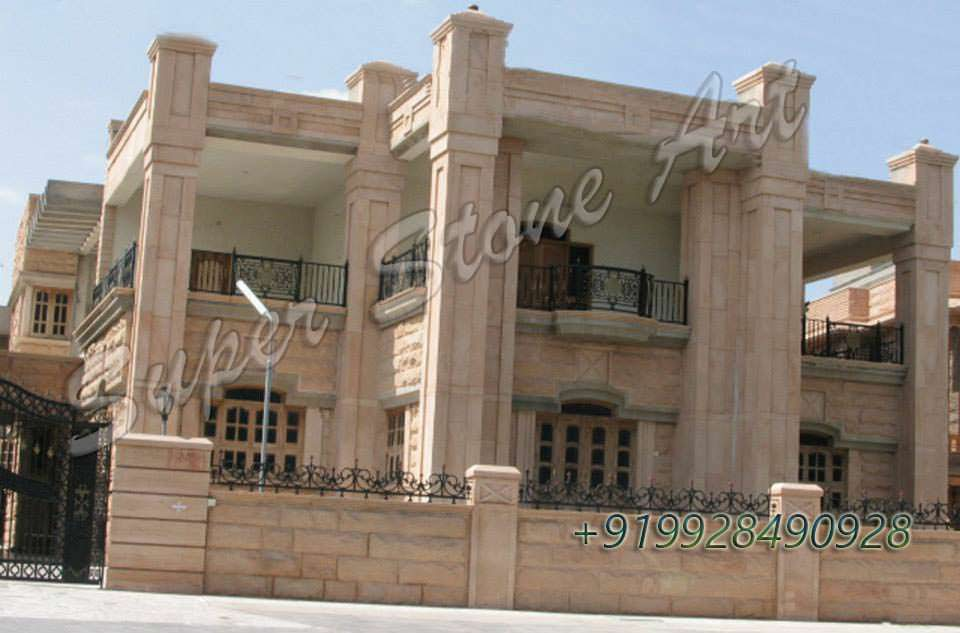 Front Elevation Of House With Pillar : Front elevation designs jodhpur sandstone stone