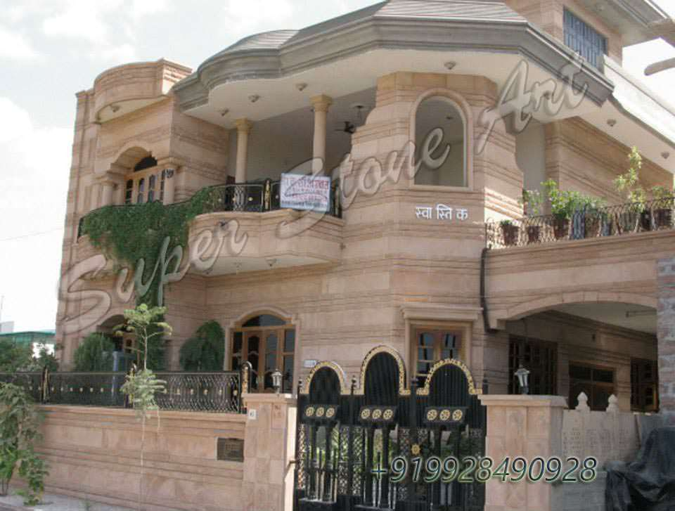 Stone Front Elevation House : Stone front elevation designs jodhpur