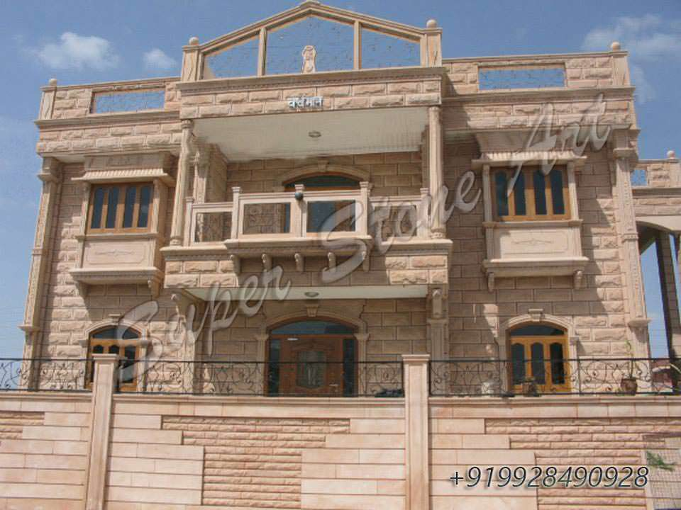 Front Elevation Stone Work : Home design rajasthan homeriview