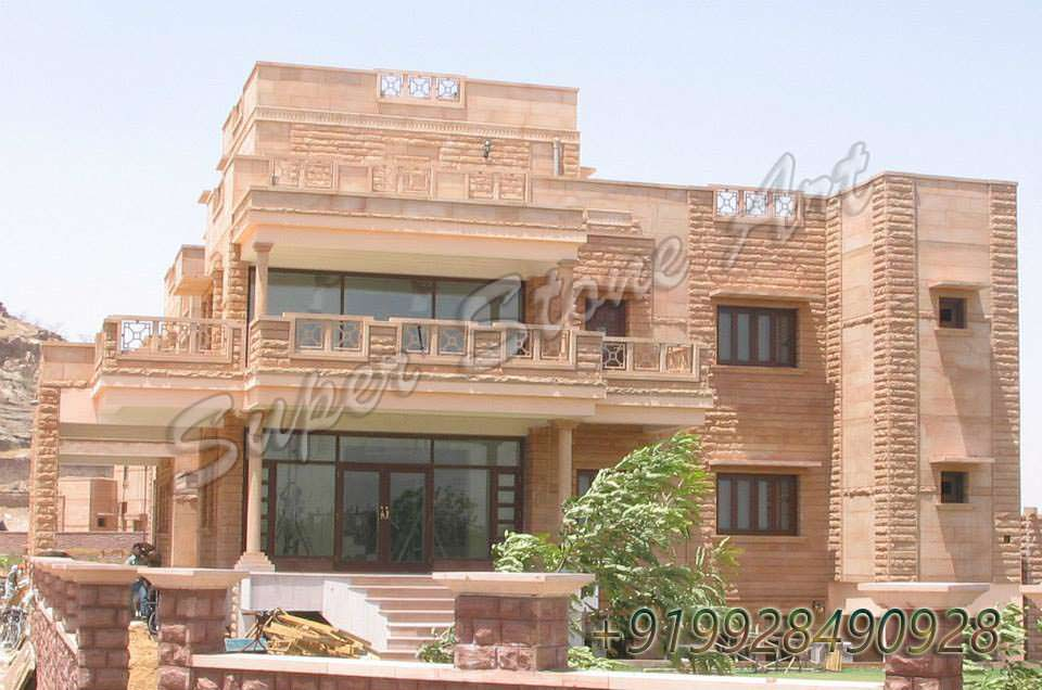 stone front elevation in rajasthan joy studio design