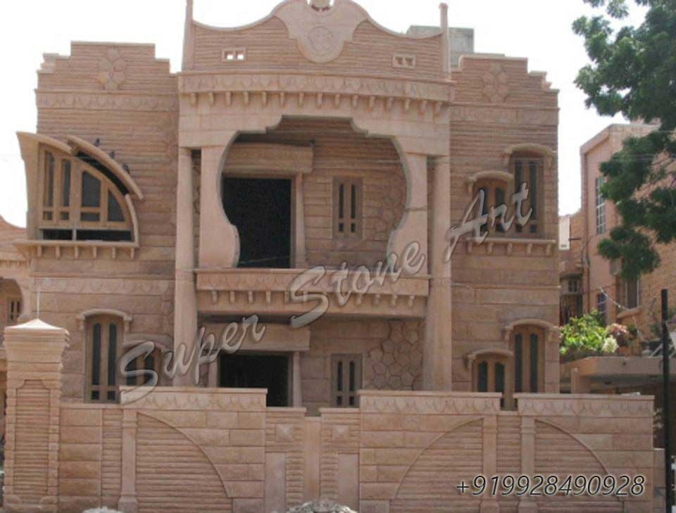 Front Elevation Designs For Houses In Rajasthan : Stone front elevation designs jodhpur