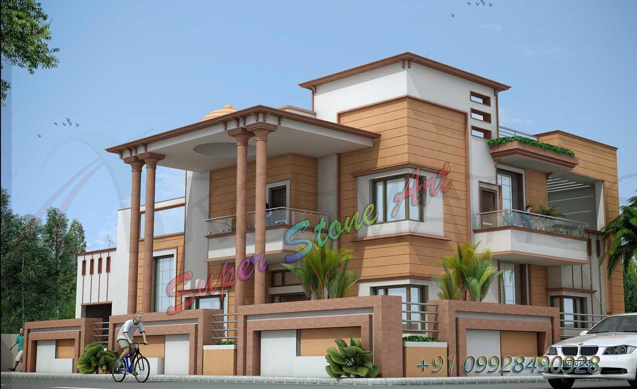 Stone For Elevation : House design pillars front elevation joy studio