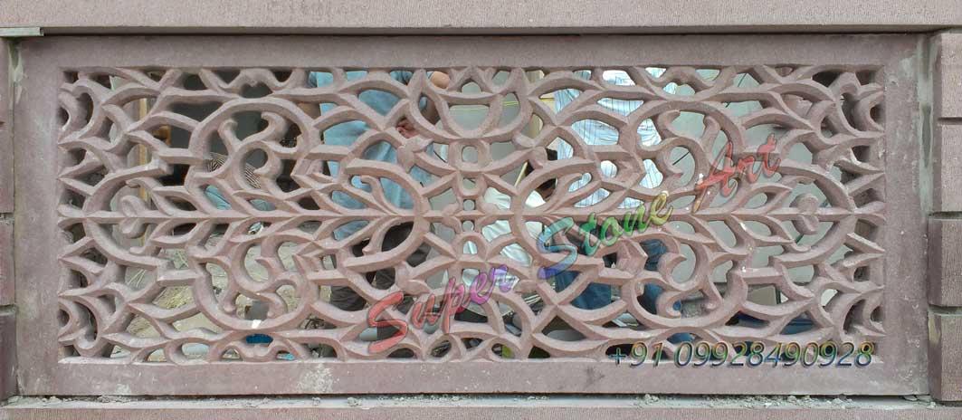 Stone Jali Elevation : Stone jali lattice art grill