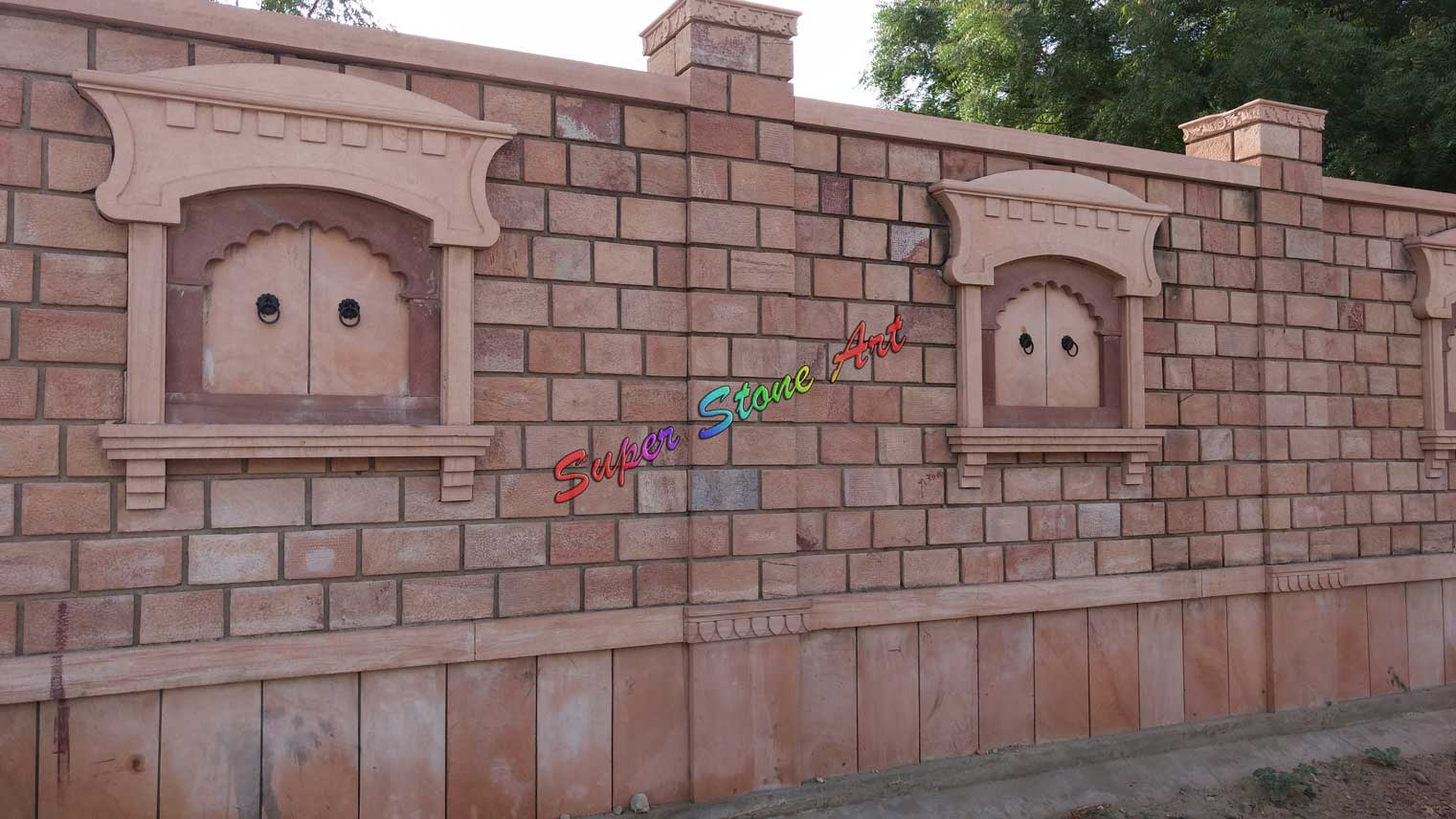 Jaisalmer Stone Elevation : Compound wall boundary designs