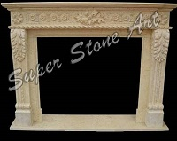 SPF25 Stone fireplace white interior carved