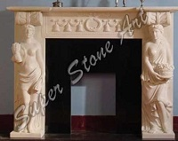 SFP23 Fireplace white carved man