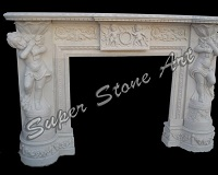 SFP24 fireplace white two boys stone sandstone natural stone carved