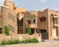 jodhpur pink red sand stone front elevation bungalow