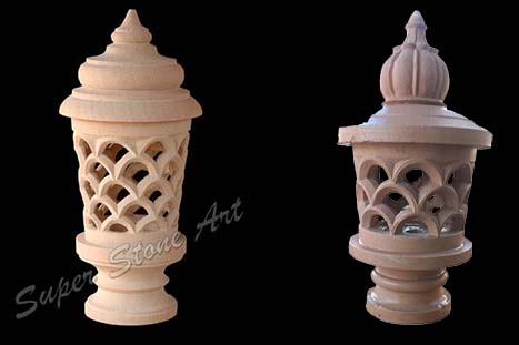Lamp post, stone lamp, red pink stone lamp post, stone post lamp lanter manufacturer supplier dealer exporter in jodhpur rajasthan india